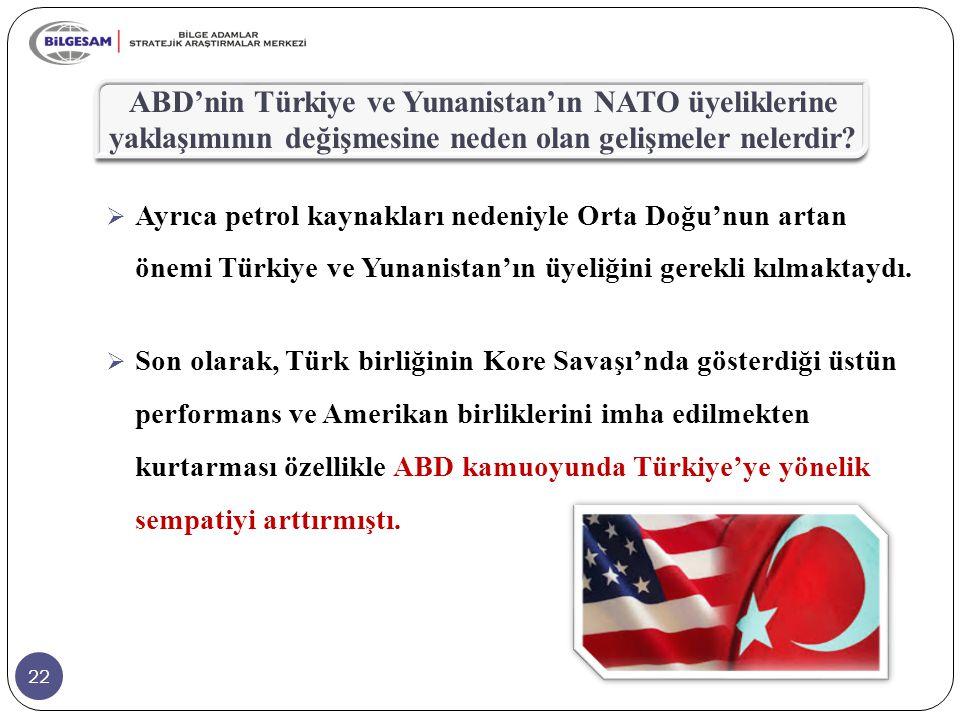 22 ABD'nin Türkiye ve Yunanistan'ın NATO üyeliklerine yaklaşımının değişmesine neden olan gelişmeler nelerdir?  Ayrıca petrol kaynakları nedeniyle Or