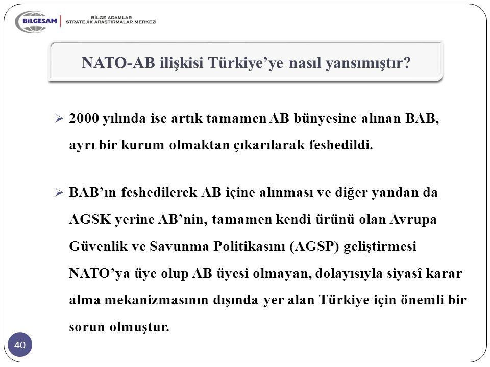 40 NATO-AB ilişkisi Türkiye'ye nasıl yansımıştır?  2000 yılında ise artık tamamen AB bünyesine alınan BAB, ayrı bir kurum olmaktan çıkarılarak feshed