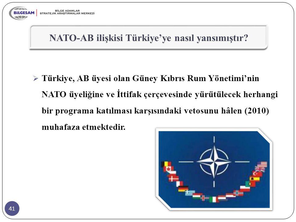 41 NATO-AB ilişkisi Türkiye'ye nasıl yansımıştır?  Türkiye, AB üyesi olan Güney Kıbrıs Rum Yönetimi'nin NATO üyeliğine ve İttifak çerçevesinde yürütü