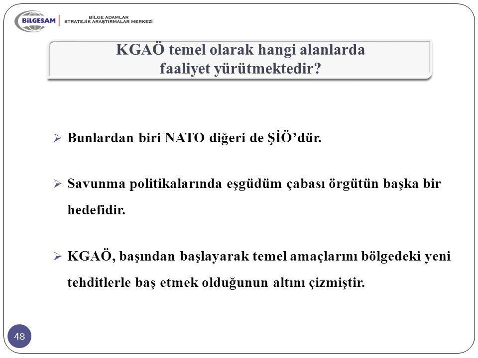 48 KGAÖ temel olarak hangi alanlarda faaliyet yürütmektedir?  Bunlardan biri NATO diğeri de ŞİÖ'dür.  Savunma politikalarında eşgüdüm çabası örgütün