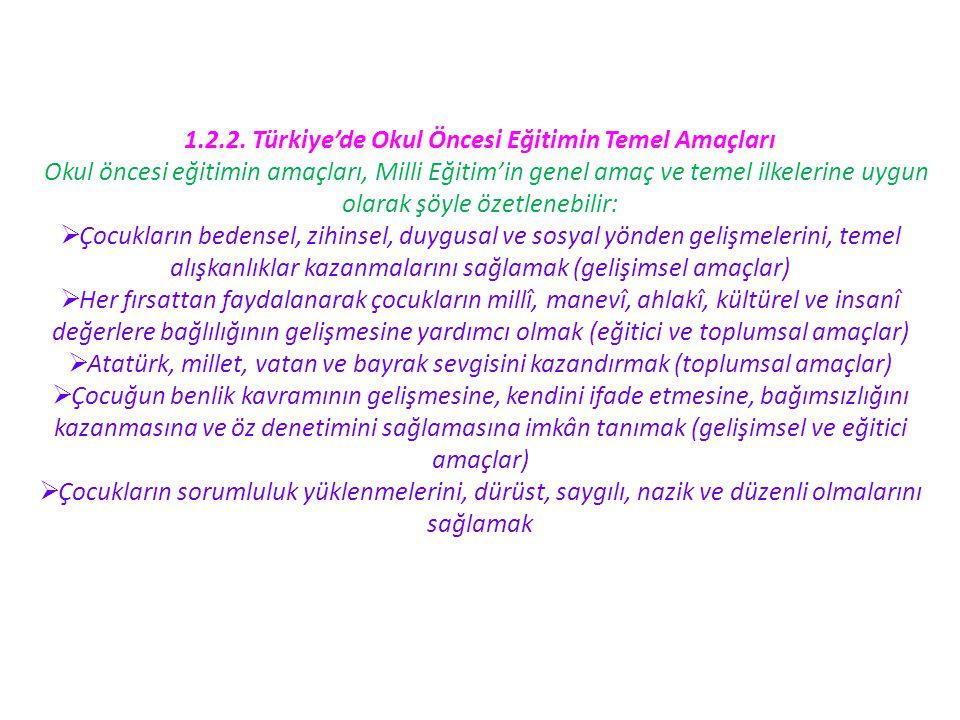 1.2.2. Türkiye'de Okul Öncesi Eğitimin Temel Amaçları Okul öncesi eğitimin amaçları, Milli Eğitim'in genel amaç ve temel ilkelerine uygun olarak şöyle