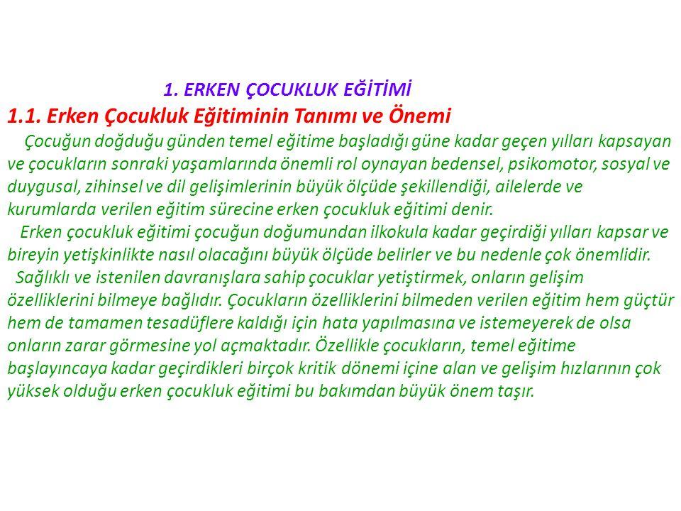 1.ERKEN ÇOCUKLUK EĞİTİMİ 1.1.