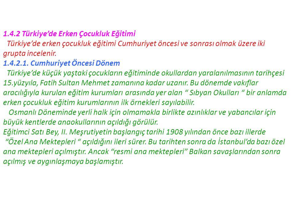 1.4.2 Türkiye'de Erken Çocukluk Eğitimi Türkiye'de erken çocukluk eğitimi Cumhuriyet öncesi ve sonrası olmak üzere iki grupta incelenir. 1.4.2.1. Cumh