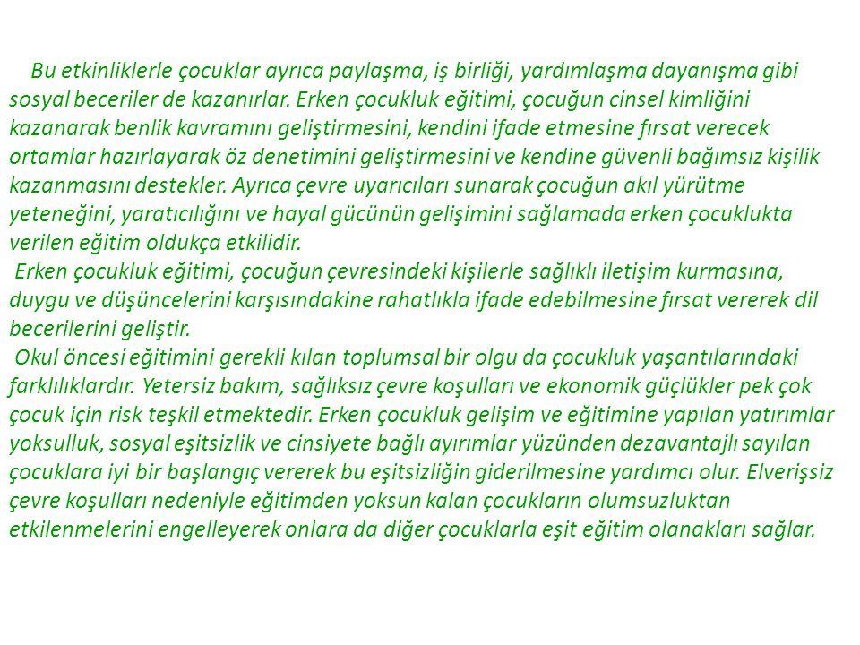 KAYNAKÇA  ARAL Neriman, Adalet KANDIR, Münevver YAŞAR CAN, Okul Öncesi Eğitim ve Okul Öncesi Eğitim Programları, YaPa Yayınları, İstanbul 2002.