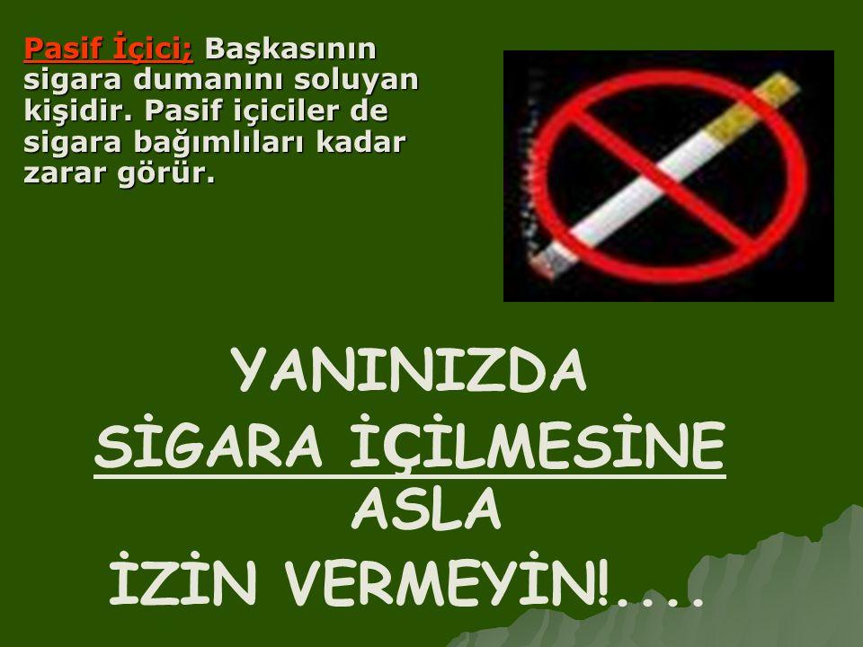 YANINIZDA SİGARA İ Ç İLMESİNE ASLA İZİN VERMEYİN!.... Pasif İçici; Başkasının sigara dumanını soluyan kişidir. Pasif içiciler de sigara bağımlıları ka