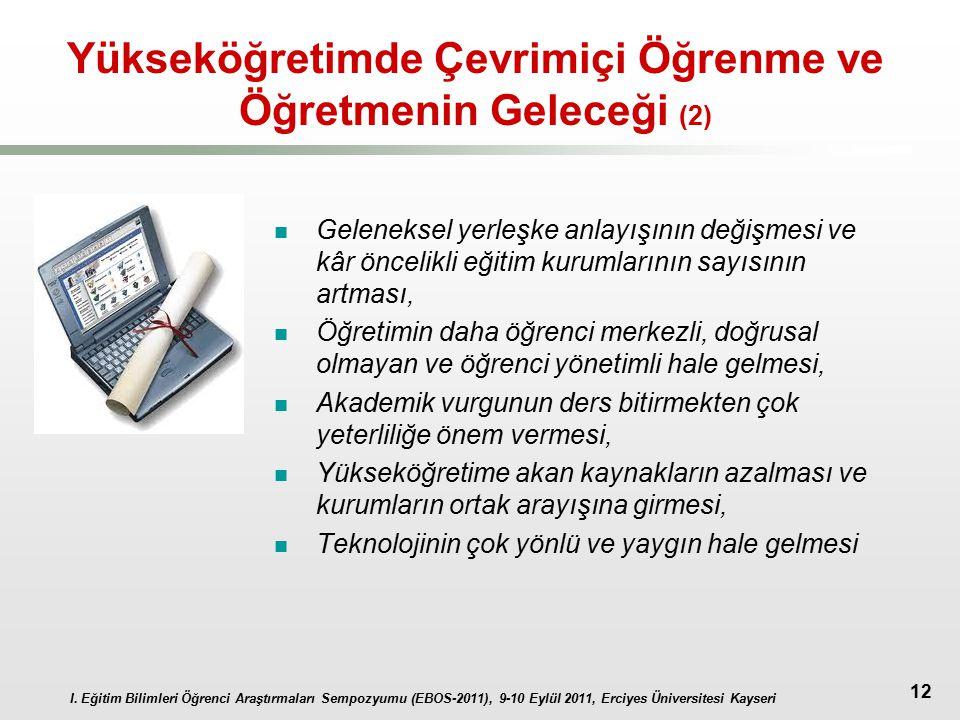 I. Eğitim Bilimleri Öğrenci Araştırmaları Sempozyumu (EBOS-2011), 9-10 Eylül 2011, Erciyes Üniversitesi Kayseri 12 Yükseköğretimde Çevrimiçi Öğrenme v