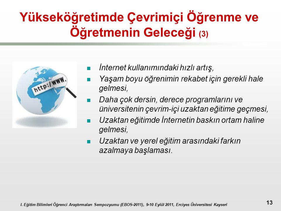 I. Eğitim Bilimleri Öğrenci Araştırmaları Sempozyumu (EBOS-2011), 9-10 Eylül 2011, Erciyes Üniversitesi Kayseri 13 Yükseköğretimde Çevrimiçi Öğrenme v