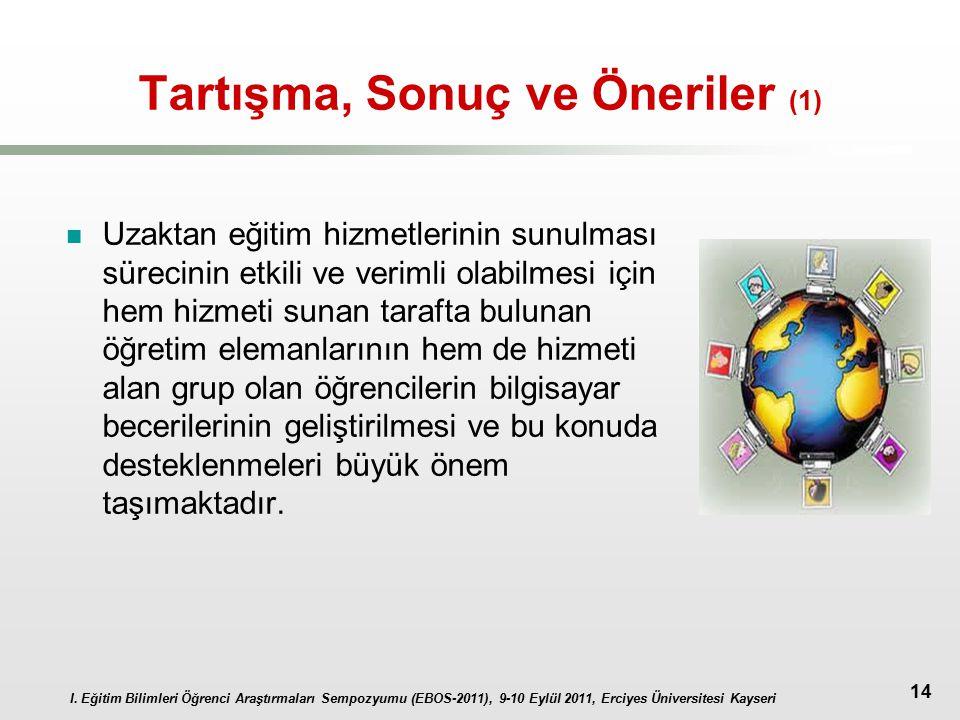 I. Eğitim Bilimleri Öğrenci Araştırmaları Sempozyumu (EBOS-2011), 9-10 Eylül 2011, Erciyes Üniversitesi Kayseri 14 Tartışma, Sonuç ve Öneriler (1) Uza