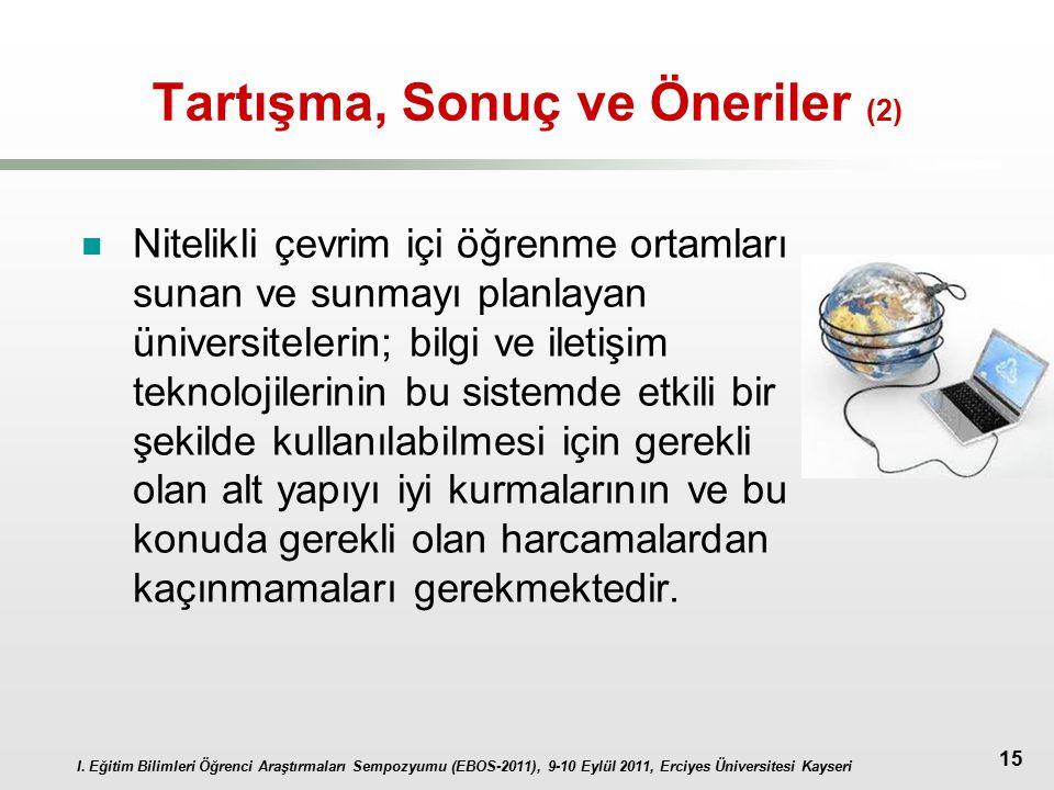 I. Eğitim Bilimleri Öğrenci Araştırmaları Sempozyumu (EBOS-2011), 9-10 Eylül 2011, Erciyes Üniversitesi Kayseri 15 Tartışma, Sonuç ve Öneriler (2) Nit