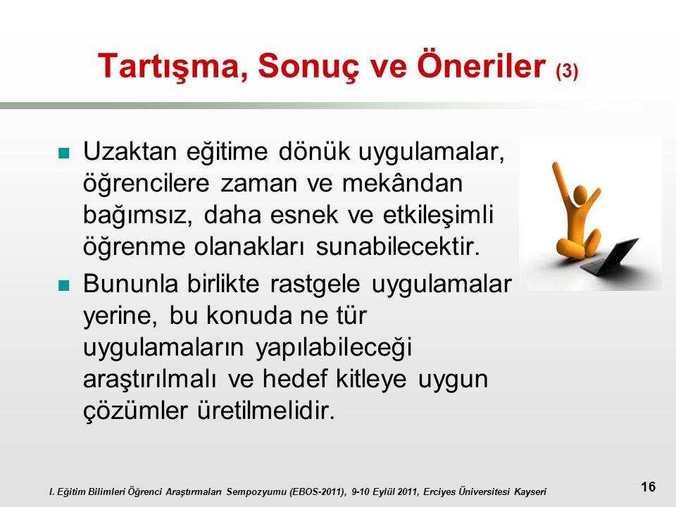 I. Eğitim Bilimleri Öğrenci Araştırmaları Sempozyumu (EBOS-2011), 9-10 Eylül 2011, Erciyes Üniversitesi Kayseri 16 Tartışma, Sonuç ve Öneriler (3) Uza