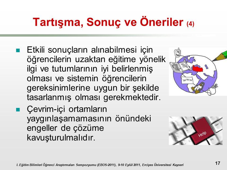 I. Eğitim Bilimleri Öğrenci Araştırmaları Sempozyumu (EBOS-2011), 9-10 Eylül 2011, Erciyes Üniversitesi Kayseri 17 Tartışma, Sonuç ve Öneriler (4) Etk