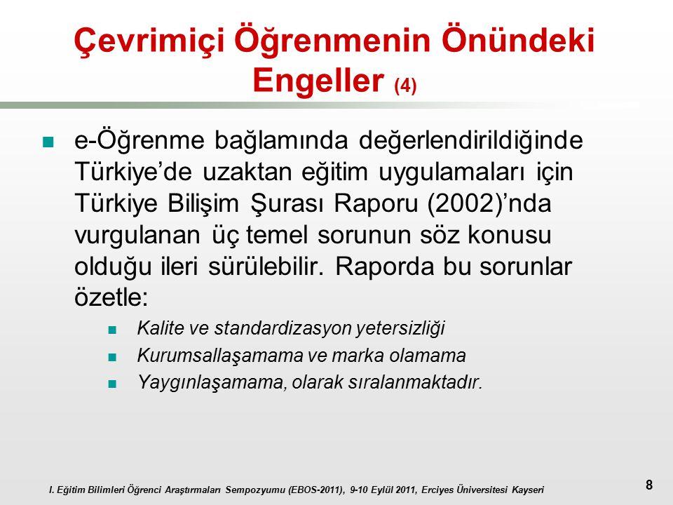 I. Eğitim Bilimleri Öğrenci Araştırmaları Sempozyumu (EBOS-2011), 9-10 Eylül 2011, Erciyes Üniversitesi Kayseri 8 Çevrimiçi Öğrenmenin Önündeki Engell