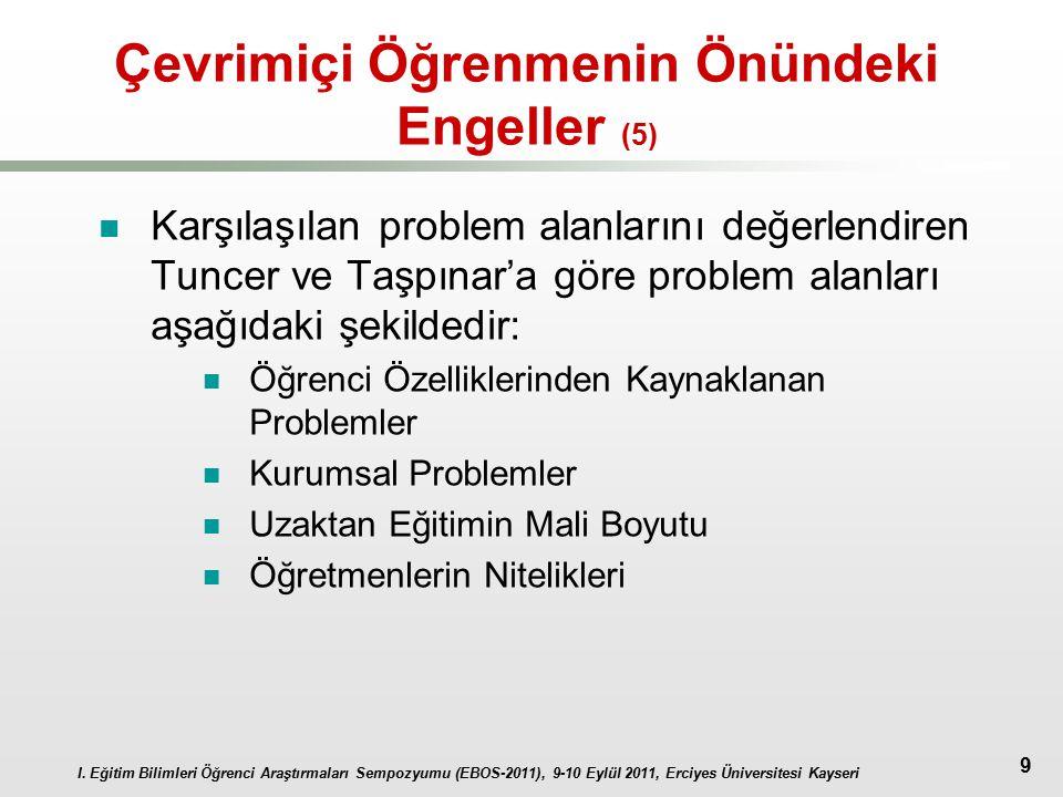I. Eğitim Bilimleri Öğrenci Araştırmaları Sempozyumu (EBOS-2011), 9-10 Eylül 2011, Erciyes Üniversitesi Kayseri 9 Çevrimiçi Öğrenmenin Önündeki Engell
