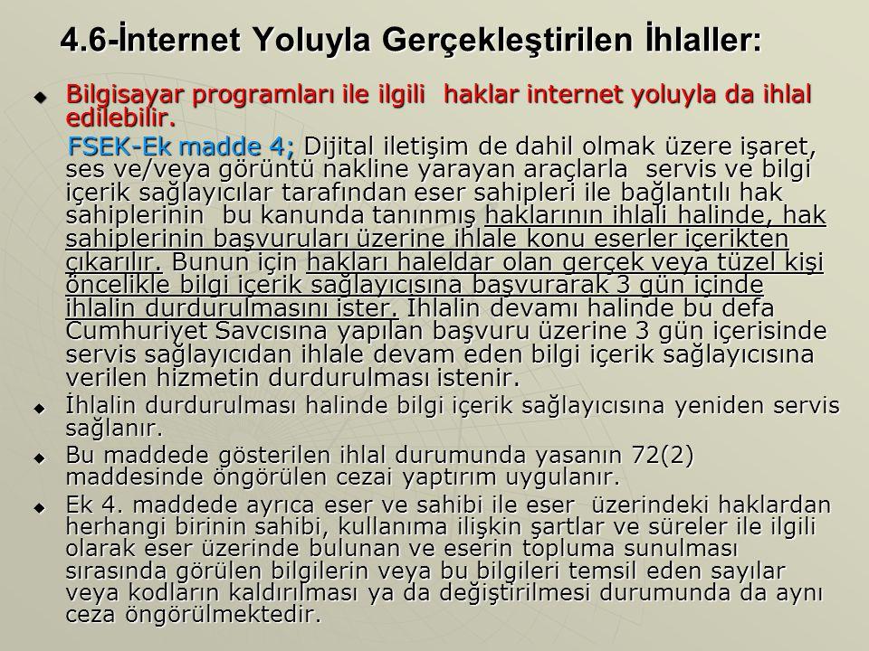 4.6-İnternet Yoluyla Gerçekleştirilen İhlaller:  Bilgisayar programları ile ilgili haklar internet yoluyla da ihlal edilebilir. FSEK-Ek madde 4; Diji