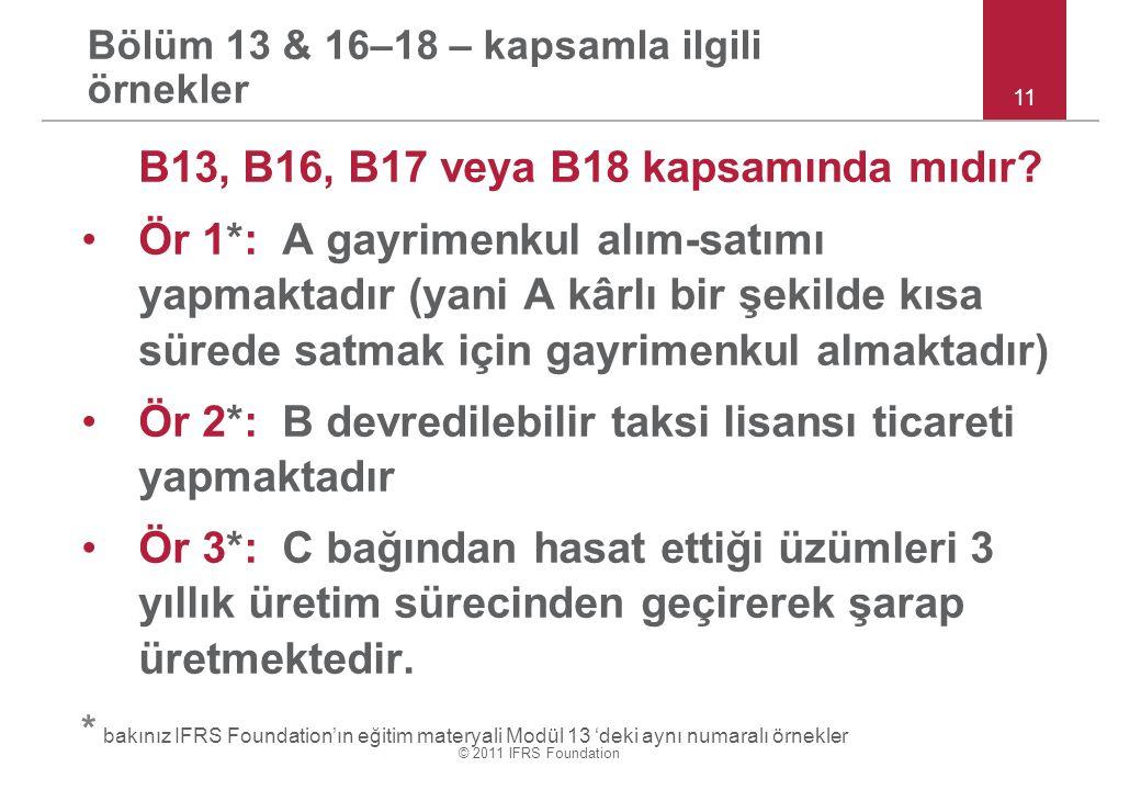 © 2011 IFRS Foundation Bölüm 13 & 16–18 – kapsamla ilgili örnekler B13, B16, B17 veya B18 kapsamında mıdır? Ör 1*: A gayrimenkul alım-satımı yapmaktad