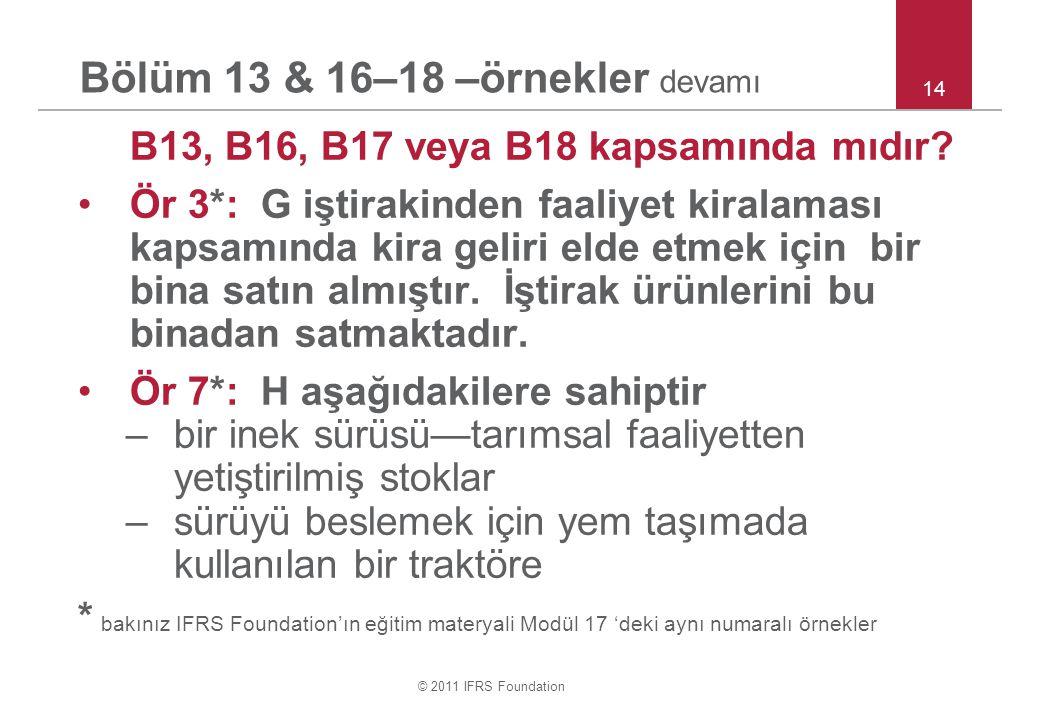 © 2011 IFRS Foundation Bölüm 13 & 16–18 –örnekler devamı B13, B16, B17 veya B18 kapsamında mıdır? Ör 3*: G iştirakinden faaliyet kiralaması kapsamında
