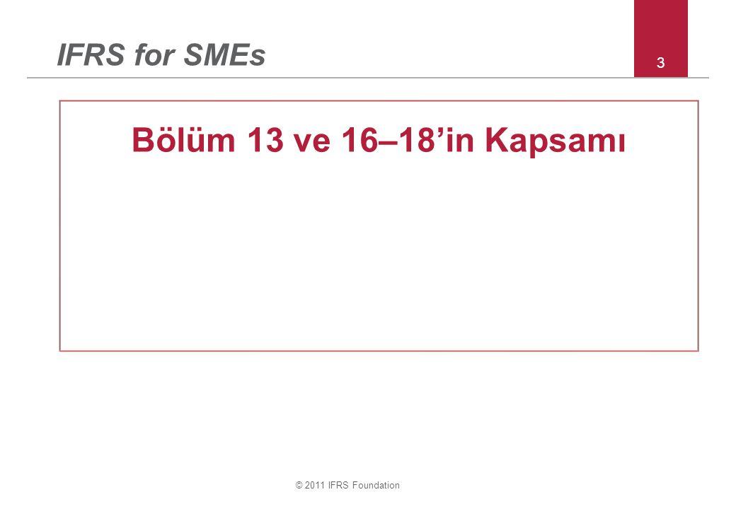 © 2011 IFRS Foundation 44 Bölüm 27 – değer düşüklüğü iptali örnekleri Ör 5: 31/12/20X1 tarihinde –ekonomik koşullardaki bozulmadan dolayı bir stok kalemi için 30 değer düşüklüğü zararı muhasebeleştirilmiştir ( maliyet = 100 & SF- TM&SM = 70) 31/12/20X2 tarihinde – ekonomik koşullardaki düzelmelerden dolayı bu kalemin SF- TM&SM' i 120 olmuştur.