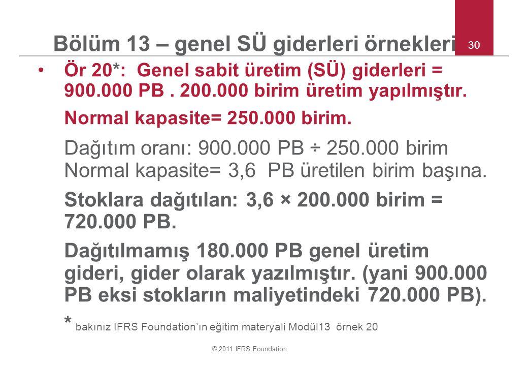 © 2011 IFRS Foundation 30 Bölüm 13 – genel SÜ giderleri örnekleri Ör 20*: Genel sabit üretim (SÜ) giderleri = 900.000 PB. 200.000 birim üretim yapılmı