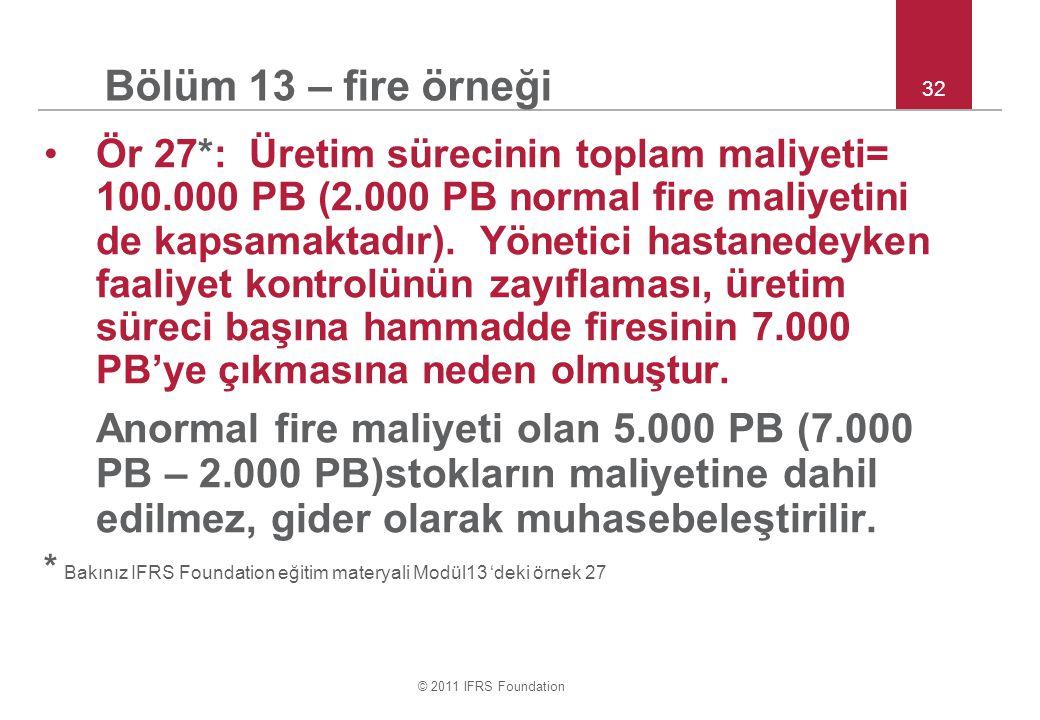 © 2011 IFRS Foundation 32 Bölüm 13 – fire örneği Ör 27*: Üretim sürecinin toplam maliyeti= 100.000 PB (2.000 PB normal fire maliyetini de kapsamaktadı
