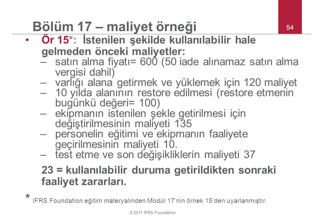 © 2011 IFRS Foundation 54 Bölüm 17 – maliyet örneği Ör 15*: İstenilen şekilde kullanılabilir hale gelmeden önceki maliyetler: –satın alma fiyatı= 600