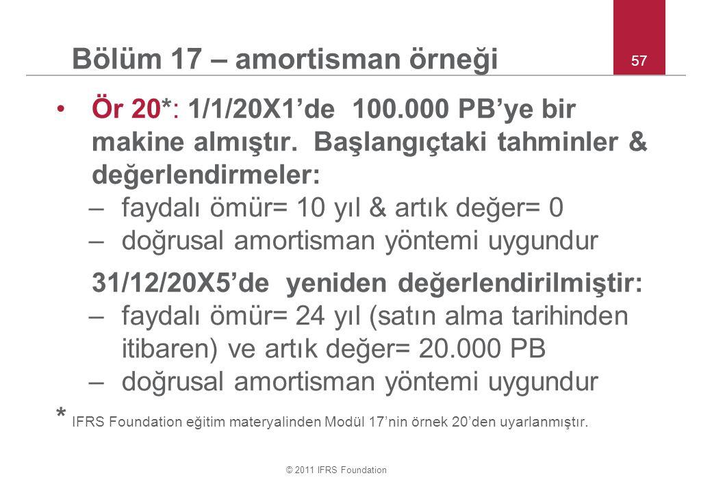 © 2011 IFRS Foundation 57 Bölüm 17 – amortisman örneği Ör 20*: 1/1/20X1'de 100.000 PB'ye bir makine almıştır. Başlangıçtaki tahminler & değerlendirmel