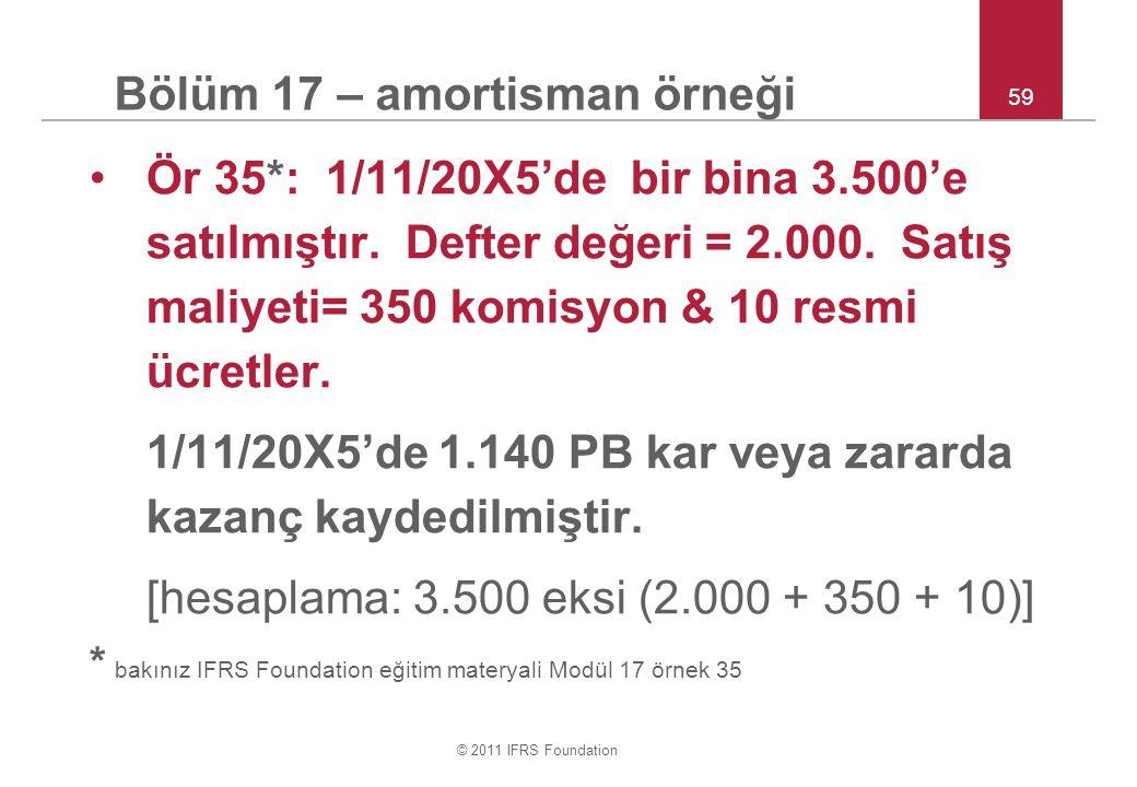 © 2011 IFRS Foundation 59 Bölüm 17 – amortisman örneği Ör 35*: 1/11/20X5'de bir bina 3.500'e satılmıştır. Defter değeri = 2.000. Satış maliyeti= 350 k
