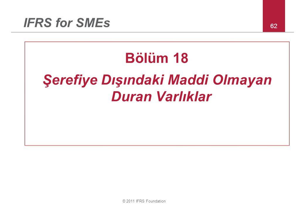 © 2011 IFRS Foundation 62 IFRS for SMEs Bölüm 18 Şerefiye Dışındaki Maddi Olmayan Duran Varlıklar