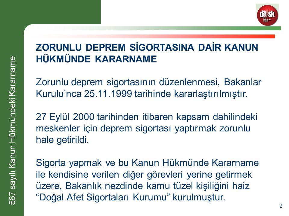 2 ZORUNLU DEPREM SİGORTASINA DAİR KANUN HÜKMÜNDE KARARNAME Zorunlu deprem sigortasının düzenlenmesi, Bakanlar Kurulu'nca 25.11.1999 tarihinde kararlaştırılmıştır.