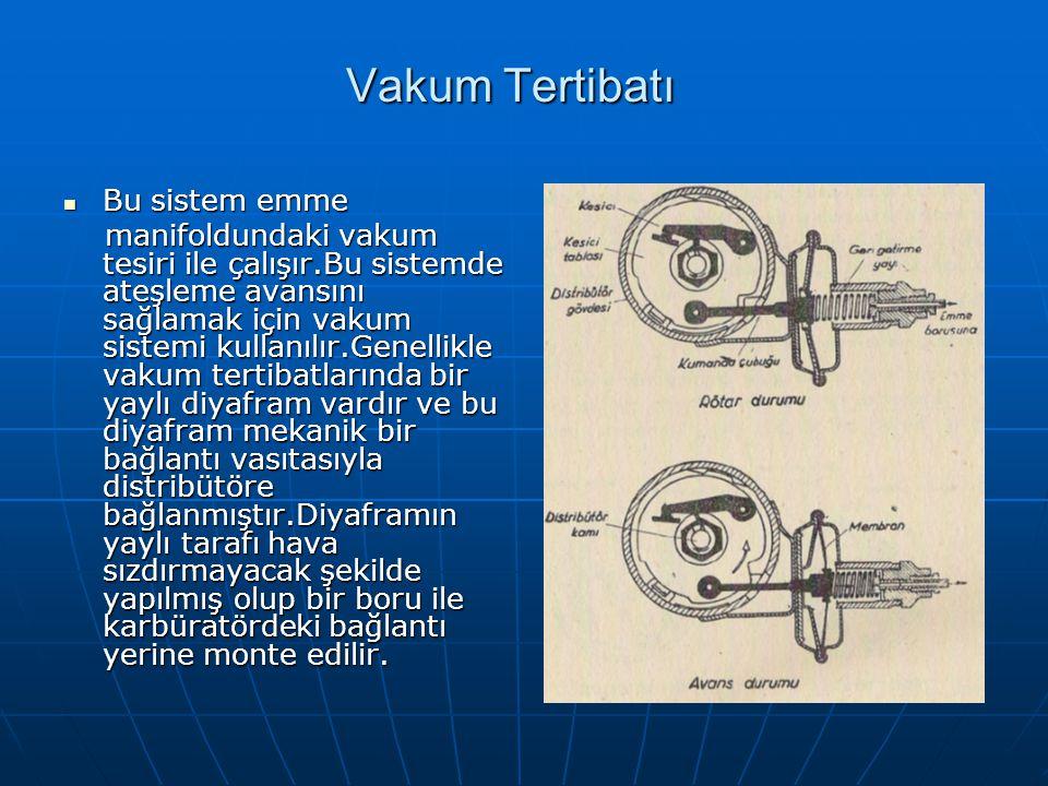 Vakum Tertibatı Bu sistem emme Bu sistem emme manifoldundaki vakum tesiri ile çalışır.Bu sistemde ateşleme avansını sağlamak için vakum sistemi kullan