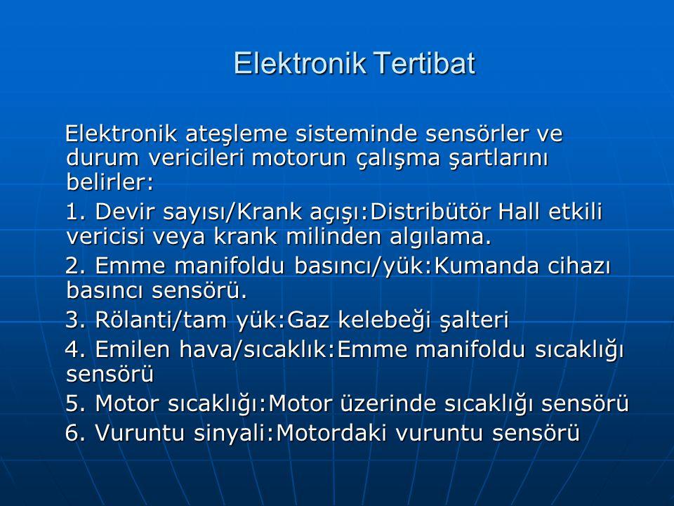 Elektronik Tertibat Elektronik ateşleme sisteminde sensörler ve durum vericileri motorun çalışma şartlarını belirler: Elektronik ateşleme sisteminde s