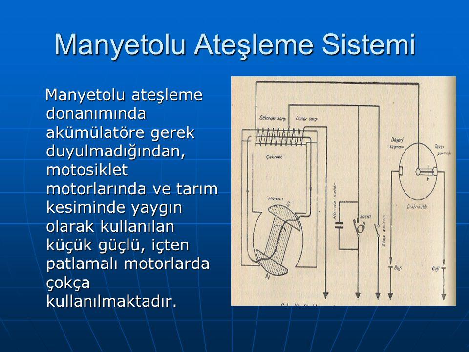 Manyetolu Ateşleme Sistemi Manyetolu ateşleme donanımında akümülatöre gerek duyulmadığından, motosiklet motorlarında ve tarım kesiminde yaygın olarak