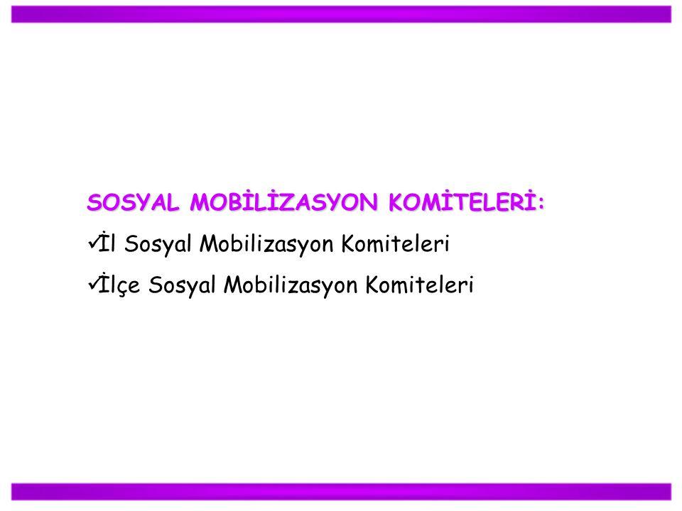 SOSYAL MOBİLİZASYON KOMİTELERİ: İl Sosyal Mobilizasyon Komiteleri İlçe Sosyal Mobilizasyon Komiteleri