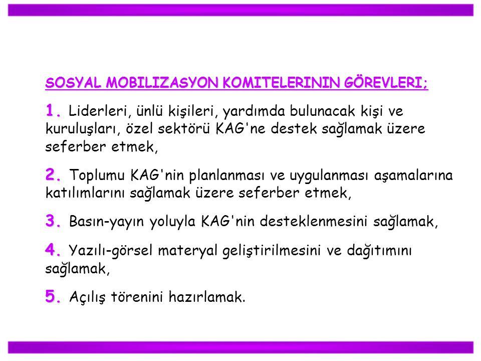 SOSYAL MOBILIZASYON KOMITELERININ GÖREVLERI; 1. 1. Liderleri, ünlü kişileri, yardımda bulunacak kişi ve kuruluşları, özel sektörü KAG'ne destek sağlam