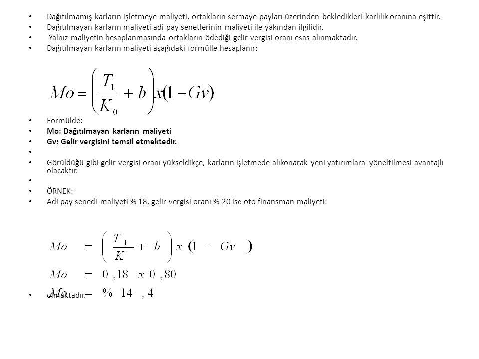 Başabaş noktasının hesaplanması: BN = Düşük maliyetli sermaye kaynağının max.