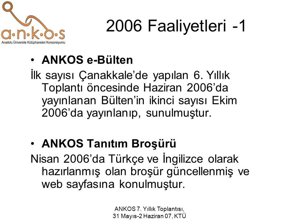 ANKOS 7. Yıllık Toplantısı, 31 Mayıs-2 Haziran 07, KTÜ 2006 Faaliyetleri -1 ANKOS e-Bülten İlk sayısı Çanakkale'de yapılan 6. Yıllık Toplantı öncesind