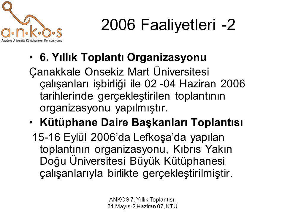 ANKOS 7. Yıllık Toplantısı, 31 Mayıs-2 Haziran 07, KTÜ 2006 Faaliyetleri -2 6. Yıllık Toplantı Organizasyonu Çanakkale Onsekiz Mart Üniversitesi çalış