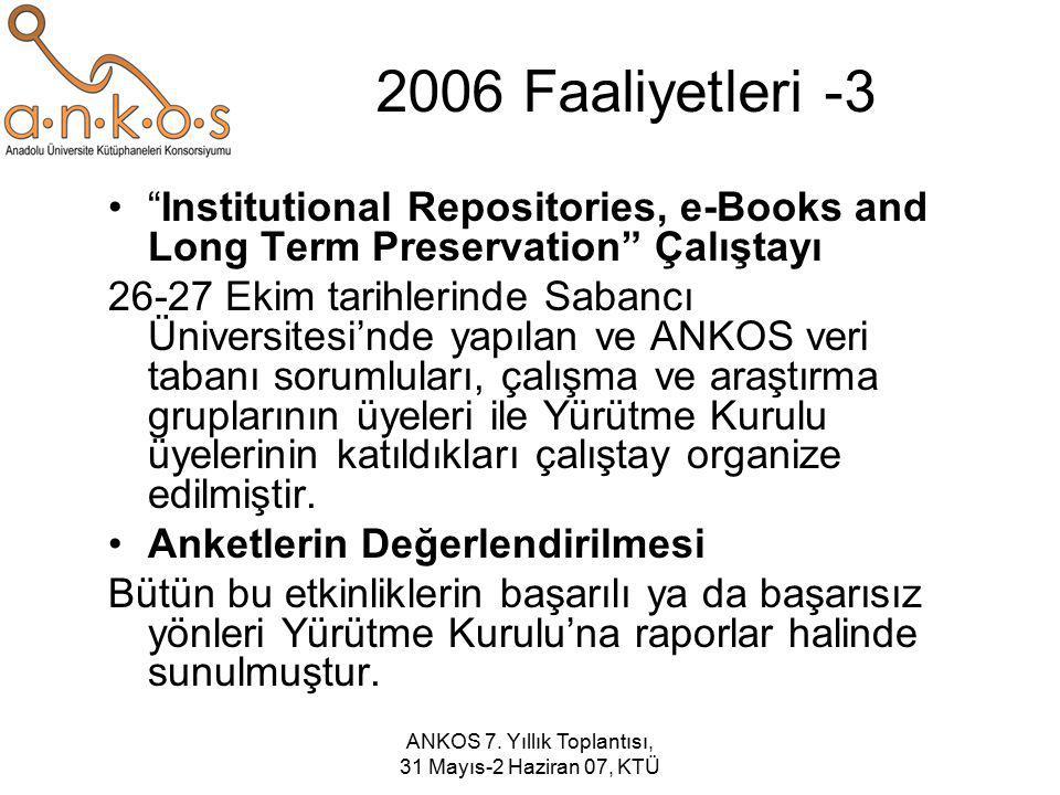 """ANKOS 7. Yıllık Toplantısı, 31 Mayıs-2 Haziran 07, KTÜ 2006 Faaliyetleri -3 """"Institutional Repositories, e-Books and Long Term Preservation"""" Çalıştayı"""