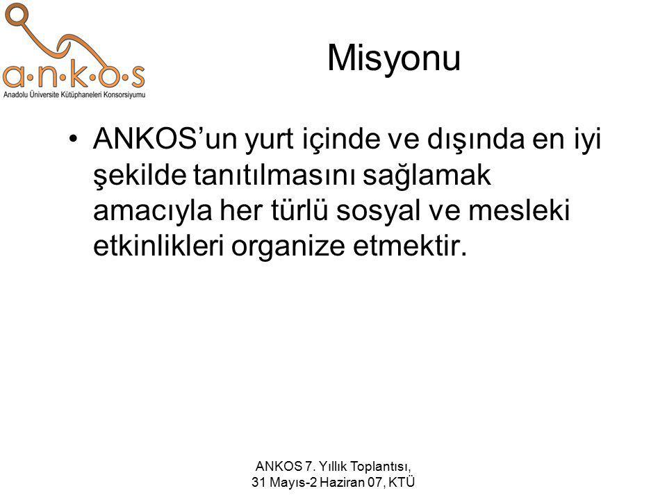 ANKOS 7. Yıllık Toplantısı, 31 Mayıs-2 Haziran 07, KTÜ Misyonu ANKOS'un yurt içinde ve dışında en iyi şekilde tanıtılmasını sağlamak amacıyla her türl
