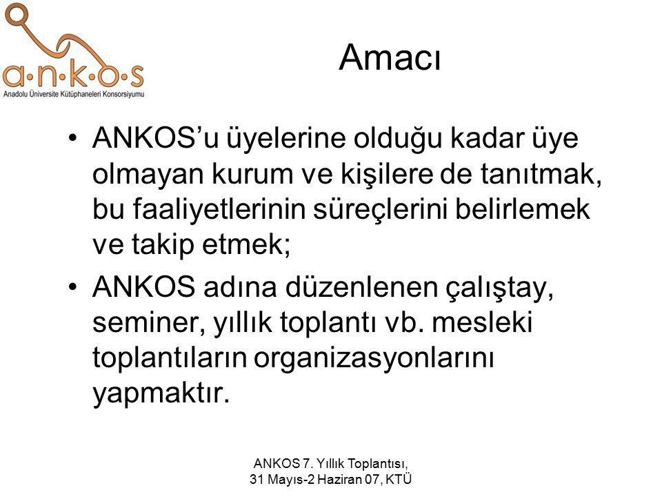 ANKOS 7. Yıllık Toplantısı, 31 Mayıs-2 Haziran 07, KTÜ Amacı ANKOS'u üyelerine olduğu kadar üye olmayan kurum ve kişilere de tanıtmak, bu faaliyetleri