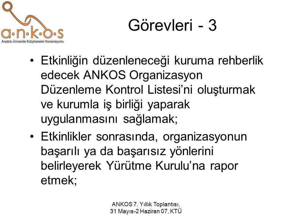 ANKOS 7. Yıllık Toplantısı, 31 Mayıs-2 Haziran 07, KTÜ Görevleri - 3 Etkinliğin düzenleneceği kuruma rehberlik edecek ANKOS Organizasyon Düzenleme Kon