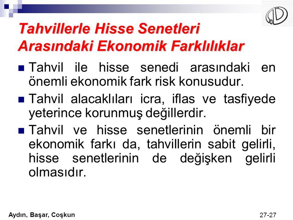 Aydın, Başar, Coşkun 27-27 Tahvillerle Hisse Senetleri Arasındaki Ekonomik Farklılıklar Tahvil ile hisse senedi arasındaki en önemli ekonomik fark ris
