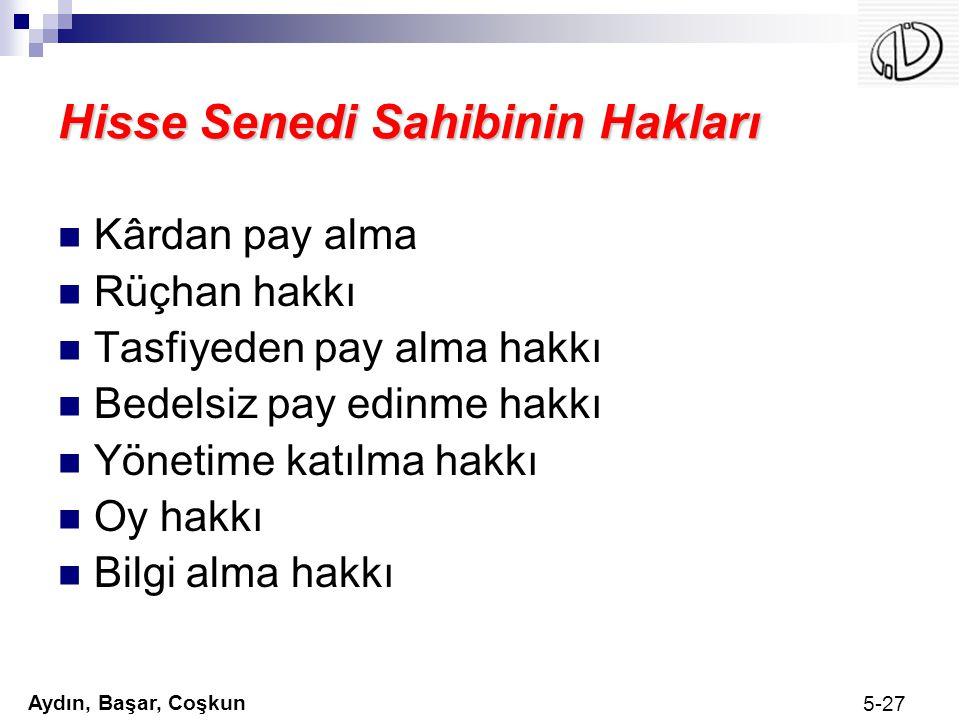 Aydın, Başar, Coşkun 5-27 Hisse Senedi Sahibinin Hakları Kârdan pay alma Rüçhan hakkı Tasfiyeden pay alma hakkı Bedelsiz pay edinme hakkı Yönetime kat