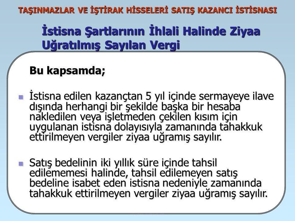 İrfan VURAL TAŞINMAZLAR VE İŞTİRAK HİSSELERİ SATIŞ KAZANCI İSTİSNASI İstisna Şartlarının İhlali Halinde Ziyaa Uğratılmış Sayılan Vergi Taşınmazlar ve