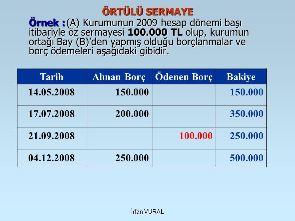 İrfan VURAL ÖRTÜLÜ SERMAYE Örnek : (A) Kurumunun 2009 hesap dönemi başı itibariyle öz sermayesi 100.000 TL olup, kurumun ortağı Bay (B)'den yapmış old