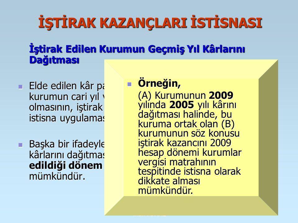 İrfan VURAL YURT DIŞINDA YAPILAN İNŞAAT, ONARIM, MONTAJ İŞLERİ İLE TEKNİK HİZMETLERDEN SAĞLANAN KAZANÇLARDA İSTİSNA (md.5/1-h) Yurt dışında yapılan inşaat, onarım, montaj işleri ile teknik hizmetlerden sağlanarak Türkiye'de genel sonuç hesaplarına aktarılan kazançlar, başkaca bir koşula bağlanmaksızın kurumlar vergisinden istisna edilmiştir.