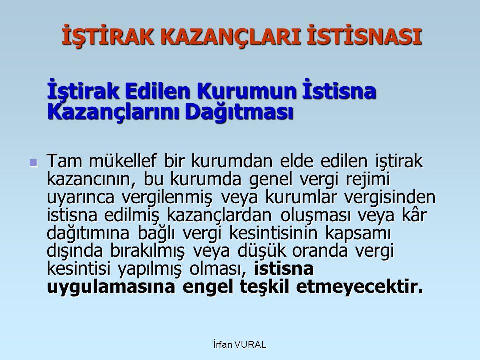 İrfan VURAL YATIRIM İNDİRİMİ İSTİSNASI 01.01.2006 tarihinden itibaren geçerli olmak üzere Gelir Vergisi Kanunu'nun 19.
