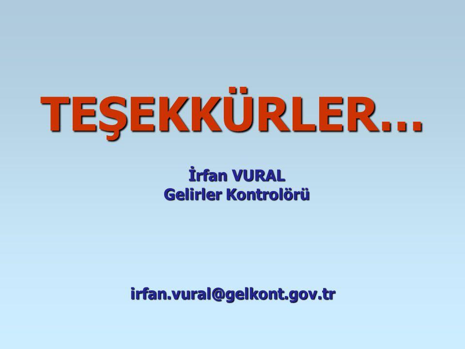TEŞEKKÜRLER… irfan.vural@gelkont.gov.tr İrfan VURAL Gelirler Kontrolörü