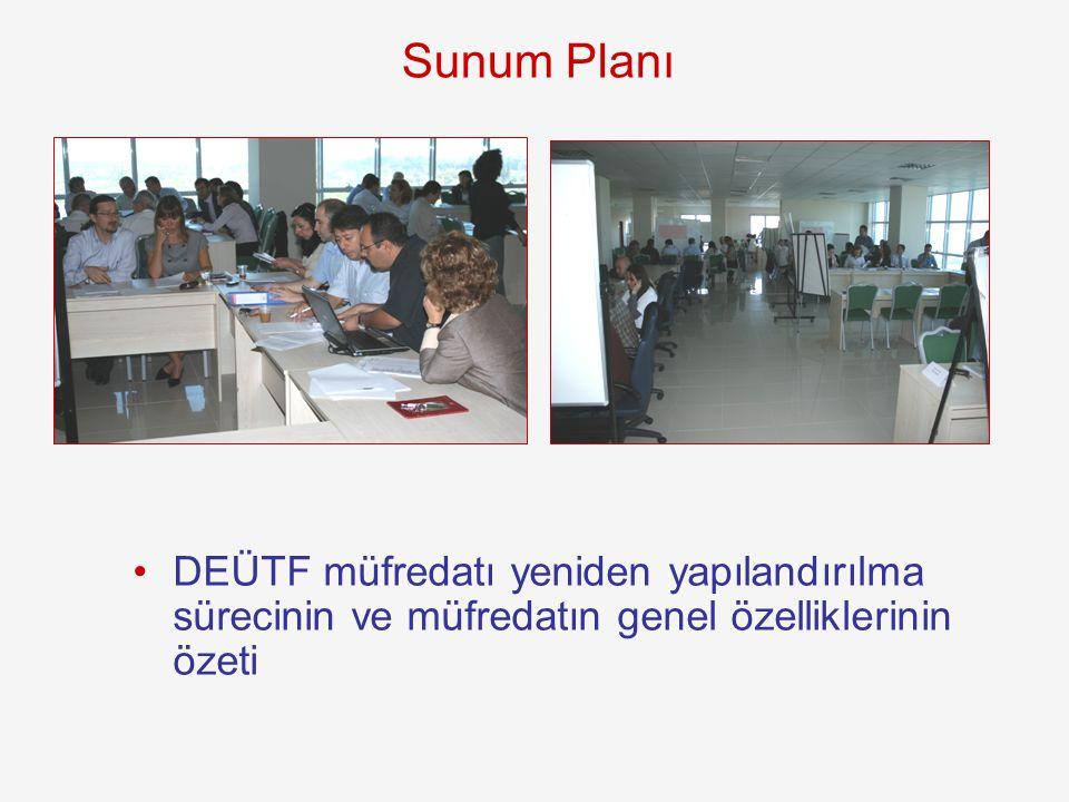 Sunum Planı DEÜTF müfredatı yeniden yapılandırılma sürecinin ve müfredatın genel özelliklerinin özeti