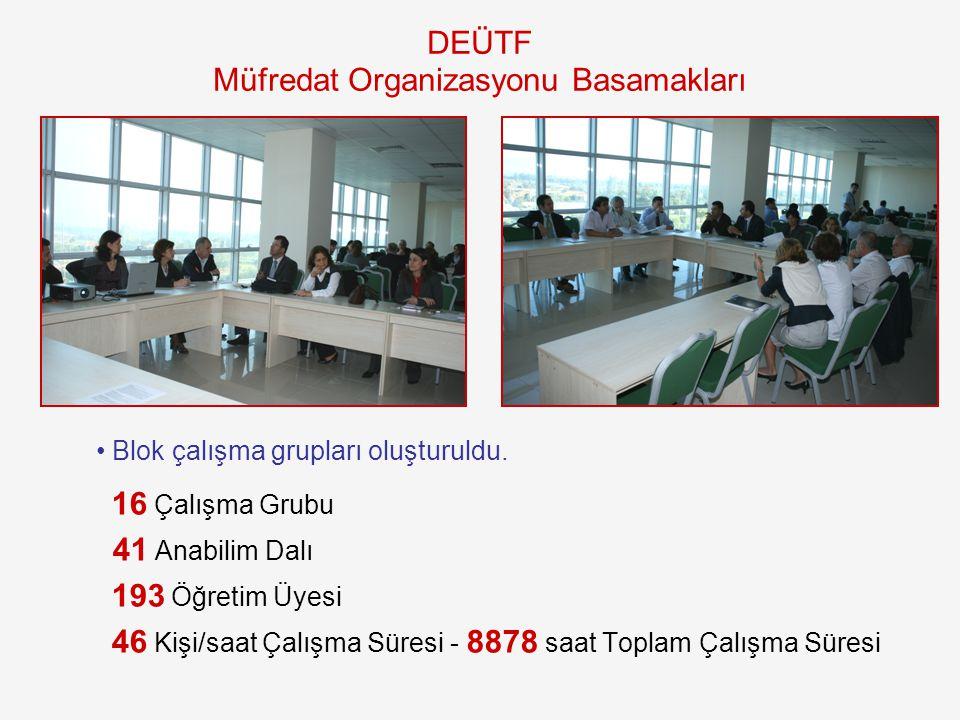 Blok çalışma grupları oluşturuldu. 16 Çalışma Grubu 41 Anabilim Dalı 193 Öğretim Üyesi 46 Kişi/saat Çalışma Süresi - 8878 saat Toplam Çalışma Süresi D