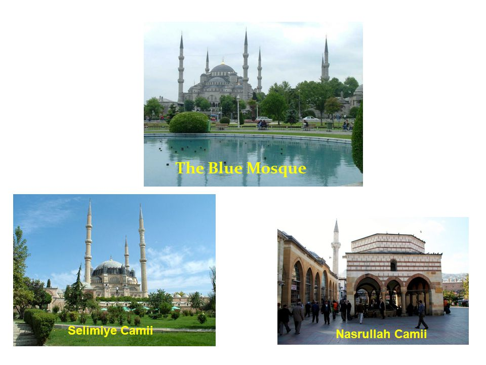 The Blue Mosque has a big courtyard.There are SOME fountains in the courtyard.